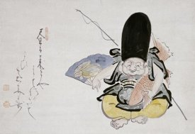 Hakuin Ekaku - Ebisu Dancing With a Poem. Hanging Scroll