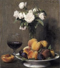 Henri Fantin-Latour - Still Life With Roses, Fruits and a Glass of Wine