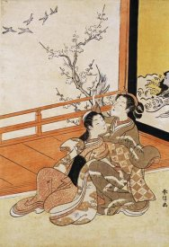 Harunobu - Two Women Seated By a Verandah