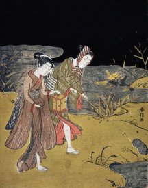 Suzuki Harunobu - A Young Couple Catching Fireflies at Night On The Banks of a River