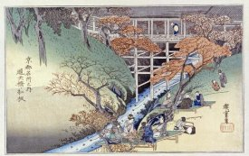 Hiroshige - Red Maple Leaves at Tsuten Bridge