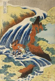 Hokusai - Two Men Washing a Horse in a Waterfall
