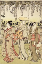 Kiyonaga - Three Women Viewing Wisteria at Kamedo