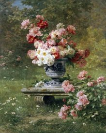 Louis Marie Lemaire - Peonies In An Urn In a Garden