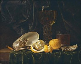 Christiaen Luyckx - Nautilus Shell, a Roemer Beer Glass, An Orange and a Lemon
