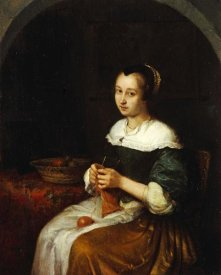 Caspar Netscher - A Woman Knitting With a Basket of Fruit