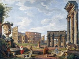 Giovanni Paolo Pannini - A Capriccio View of Rome With The Colosseum