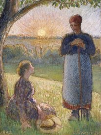 Camille Pissarro - Country Women Chatting, Sunset, Eragny