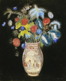 Odilon Redon - Large Bouquet on a Black Background