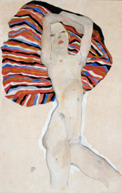 Egon Schiele - Nude with Colored Fabric, 1911