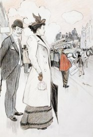 Theophile Steinlen - A Couple Waiting For a Bus
