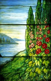 Tiffany Studios - Red Blossoming Hollyhocks and Arbor Vitae