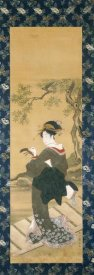 Utagawa Toyokuni - Portrait of a Woman Tuning Her Shamisen On a Veranda
