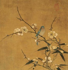 Unknown - Blue Bird On a Plum Branch With Bamboo