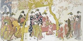 Kitagawa Utamaro - Three Groups of Courtesans With Their Shinzo and Kamuro