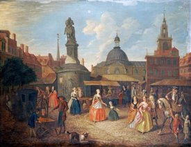 Joseph Van Aken - View of Stocks Market With The Statue of King Charles II