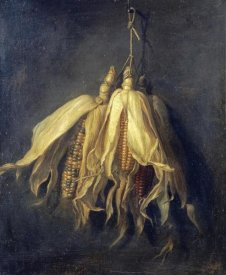 Cornelis Van Spaendonck - Three Corncobs Hanging From a Nail