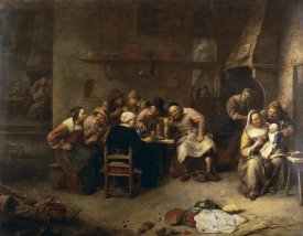 Gillis Van Tilborch - Peasants Drinking and Smoking In An Inn