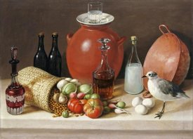 Jose Agustin Arrieta - Still Life With a Bird and a Pitcher
