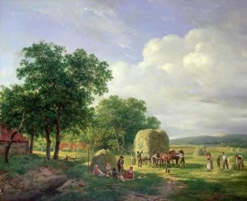 Hendrik Van De Sande Bakhuyzen - A Wooded Landscape With Haymakers