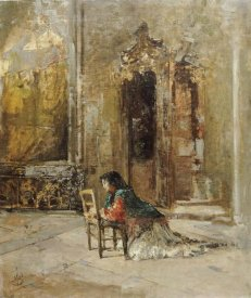 Mose Bianchi - A Woman at Prayer In a Church