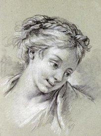 Francois Boucher - Head of a Girl Looking Down To The Right