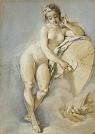 Francois Boucher - Venus Standing, Gesturing Towards a Heart On a Targe With Two Doves