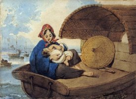 George Chinnery - A Tanka Woman With Her Child On a Boat