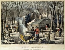 Currier and Ives - Maple Sugaring - Early Spring In The Northern Woods