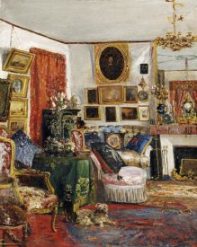 Gustave De Launay - An Interior of a Sitting Room