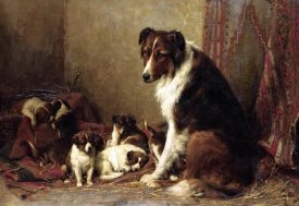 Otto Eerelman - A Collie With Her Puppies