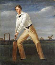 English School - A Cricketer at The Crease