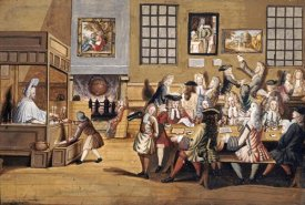 English School - Scene In a London Coffee House
