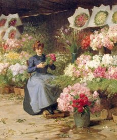 Victor-Gabriel Gilbert - Flower Seller Behind The Madelaine Church