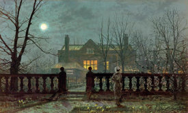 John Atkinson Grimshaw - Lady In a Garden By Moonlight