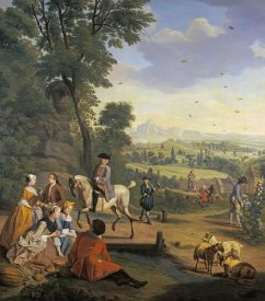 Jan Josef Horemans - An Elegant Hawking Party Resting In a Park