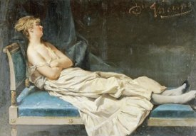 Domenico Induno - A Lady Reclining On a Chaise Longue