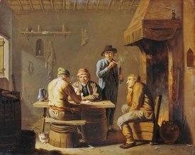 Justus Juncker - Peasants Playing Cards By a Cottage Fire