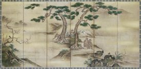 Kano School - Birds, Flowers and Monkeys Six-Panel Screen