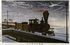 Kobayashi Kiyochika - A Steam Locomotive In Hazy Moonlight