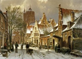 Willem Koekkoek - A Winter Street Scene