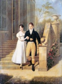 Anthelme Francois Lagrenee - Portrait of a Lady and a Gentleman On The Steps of a Chateau