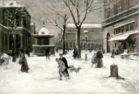 Luigi Loir - A Winter Street Scene, Paris