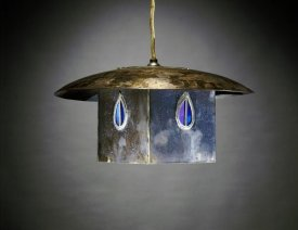 Charles Rennie Mackintosh - A Metal and Leaded Glass Hanging Shade