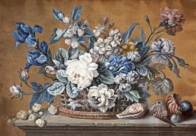 Peter Mazell - A Basket of Dahlias, Delphiniums