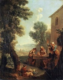 Paolo Monaldi - Peasants Drinking By a Farmhouse