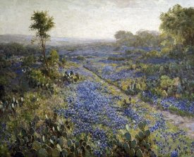 Julian Onderdonk - Field of Texas Bluebonnets and Prickly Pear Cacti