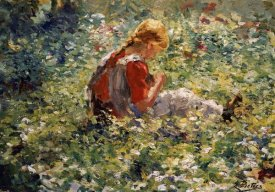 Evert Pieters - A Young Girl In a Flower Garden