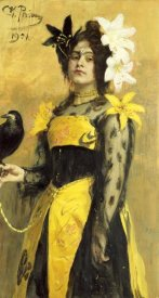 Ilia Efimovich Repin - Portrait of a Lady In a Yellow and Black Gown