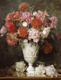 Gabriel Schachinger - Peonies In a Vase On a Table
